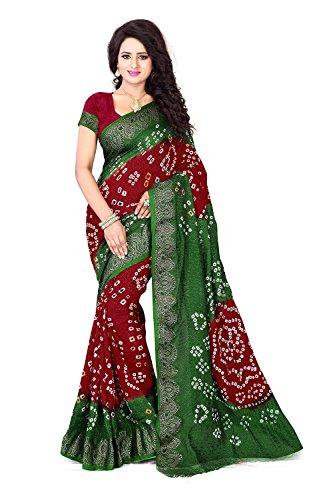 Fabrica Fab Women's Girls Green Art Silk Bandhani saree with hand woven...