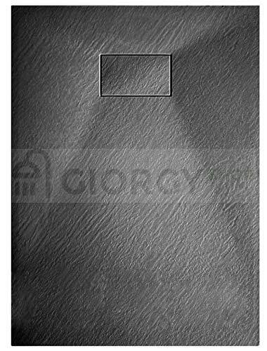 SMC - Receveur de douche effet pierre ardoise en marbre résine. Hauteur : 2,6cm - Bonde de douche incluse - 70 x 90 cm ; 80 x 100 cm ; 80 x 120 cm ; 80 x 140 cm ; 80 x 160 cm - Blanc, taupe, beige, gris béton