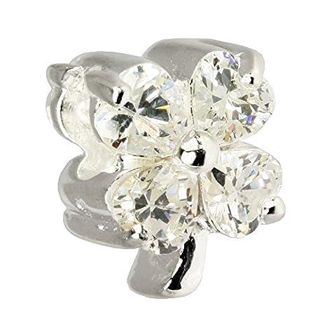 Carlo bIAGI kleebtatt blanc perle en zircones et argent 925/1000 pendentif bracelet bBSCZ106C