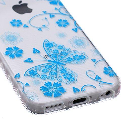 Ekakashop Coque pour Apple iphone 5c, Ultra Slim-Fit Flexible Souple Housse Etui Back Case Cas en Silicone pour iphone 5c, Soft Cristal Clair TPU Gel imprimée Couverture Bumper de Protection Extrêmeme Papillon bleu
