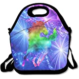 Rainbow Galaxy Unicorn Waterproof Lunch Tote Bag Portable Picnic Lunch Box Lunch Pouch