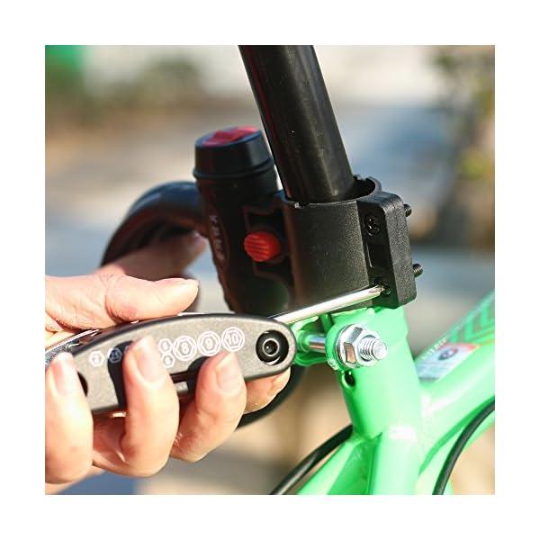 DAWAY Multitool Fahrrad Reparatur Set B32 Fahrrad Werkzeug Reparaturset, 16 in 1 Multifunktionswerkzeug, Reifenheber, Selbstklebendes Fahrradflicken