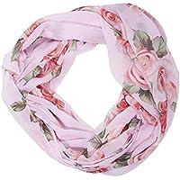 ManuMar Loop-Schal für Damen   feines Hals-Tuch mit Rosen-Motiv   Schlauch-Schal - Das ideale Geschenk für Frauen