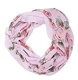 MANUMAR Loop-Schal für Damen | Hals-Tuch in rosa mit Rosen Motiv als perfektes Herbst Winter Accessoire | Schlauchschal | Damen-Schal | Rundschal | Geschenkidee für Frauen und Mädchen