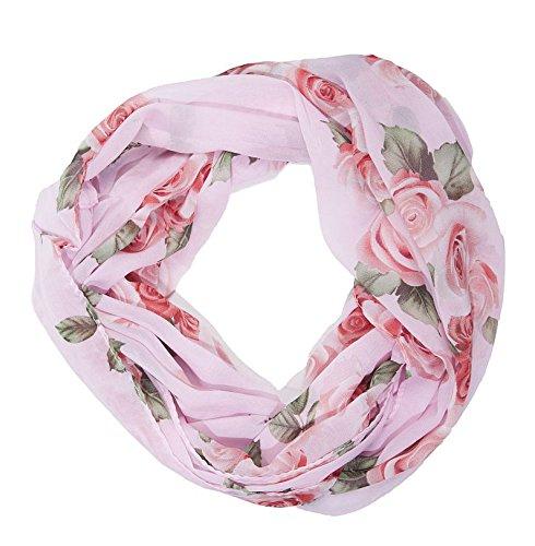 ManuMar Loop-Schal für Damen | feines Hals-Tuch mit Rosen-Motiv | Schlauch-Schal in Rosa- Das ideale Geschenk für Frauen (Schals Rosa Hals)