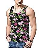 Bfustyle Lustige 3D Printed Coconut Flamingo Lässige Tank Top Ärmellose Tops Shirt Multi-Color S-XXL für Männer
