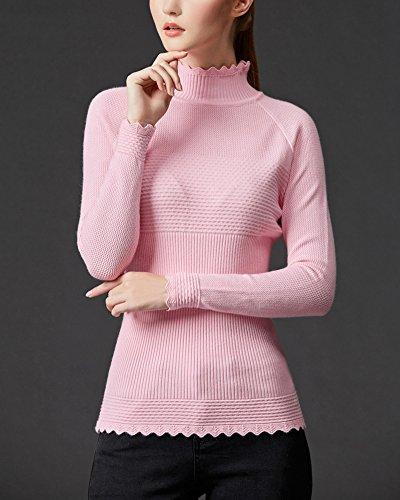 Donna Elasticità Maglione A Collo Alto Maniche Lunghe Inverno Pullover Pink
