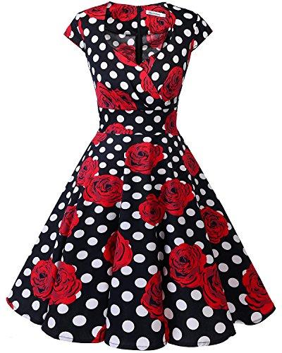 bbonlinedress 1950er Vintage Retro Cocktailkleid Rockabilly V-Ausschnitt Faltenrock Black White Rose XS