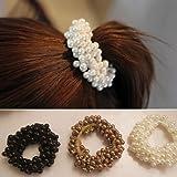 Musuntas 2pack Frauen Kunstperlen Kuegelchen Haarband Seil Zopfband Pferdeschwanz-Halter Perlen Gummi Haarseil/Perlen Zopfband Haarband