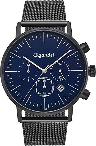 Gigandet cuarzo reloj de pulsera para hombre Minimalism III Dual Tiempo Reloj Fecha Analógica Milanaise Acero Inoxidable Pulsera Negro Azul G22–006