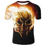 Longra Oversize Herren Shirt Slim Fit Schwarz Totenkopf 3D Bedruckte Kurzarmshirt T-Shirt Tee Tops Herren T-Shirt Bluse Tops Sommer Cool T-Shirt Sommer Oberteile Hemd Casual T Shirt (M, Black)