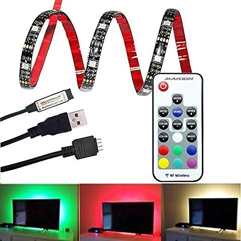 Bande LED USB Rétroéclairage TV avec RF Télécommande,Makion 100cm / 3.28ft multi-couleurs 30leds flexible 5050 USB RGB LED bande de lumière avec le câble USB 5v et Mini Controller pour TV / PC / ordinateur portable Rétro-éclairage