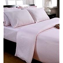 Homescapes Funda de almohada Confort con rayas de satén estilo-Oxford-50 x 90 cm de color Rosa con sobrecosturas en 100% algodon egipcio densidad de 130 hilos/cm²