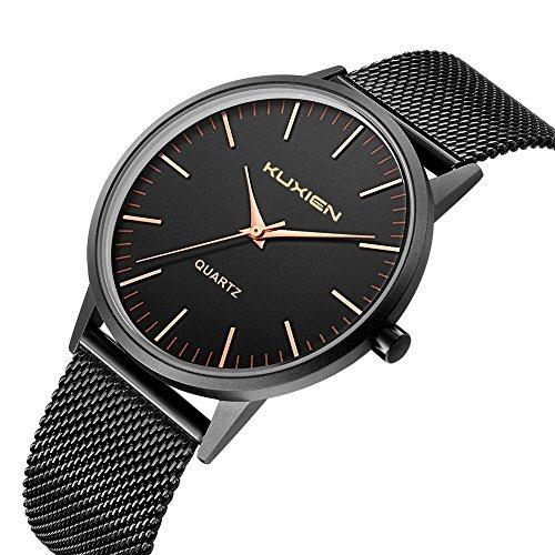 Uhren Gesicht Herren Schwarz Edelstahl (Herren Uhren,Herren Armbanduhr KUXIEN Ultra Dünne Herren wasserdicht Quarz Armbanduhr Uhren und Schwarz Edelstahl Milanese Armband)