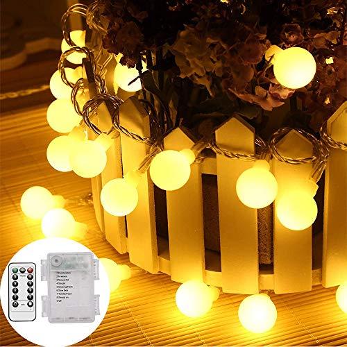 Beyanh catena luminosa,luci natalizie warm white 100 led a 10 luci lampadine fata con 8 modalità flash, telecomando, batteria, ip65 impermeabile per esterni e illuminazione interna per natale