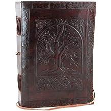 s-bazar Diario personal, diseño de gran árbol de la vida, en blanco, de piel, estilo antiguo, color marrón