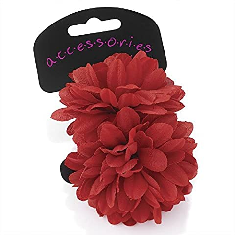 Two piece flower ponio hair set. Size 7cm flower elasticated ponio (Red)