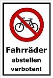 Schild - Fahrräder abstellen verboten - 30x20cm mit Bohrlöchern | stabile 3mm starke Aluminiumverbundplatte – S00050-042-A +++ in 20 Varianten erhältlich