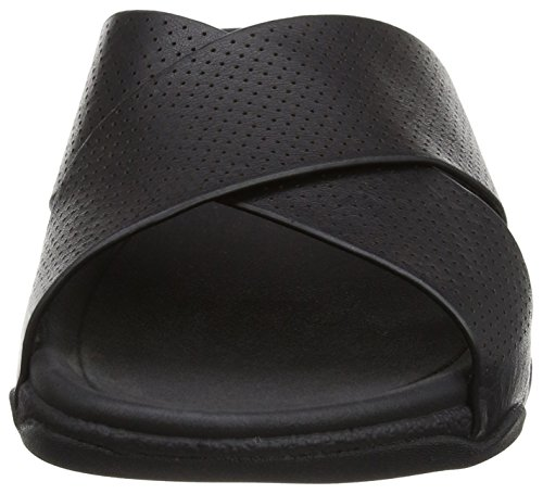 FitFlop Herren Surfer Perf Mens Leather Slide Sandalen Schwarz (Schwarz)