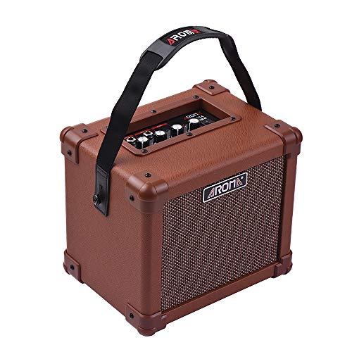 Muslady Verstärker für Akustikgitarre, 10 W, tragbar, AROMA AG-10A, mit Audioeingang für Mikrofon