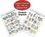 Das bunte Kinder-ABC + Meine tierischen Zahlen von 1-20 Deutsch/Englisch: 2 Lernposter, gerollt, abwaschbar + UV-Lack beschichtet