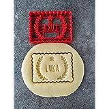 Emporte-pièce personnalisé en forme de petit beurre - 1 prénom, lauriers et coeurs - Conçu et fabriqué en France