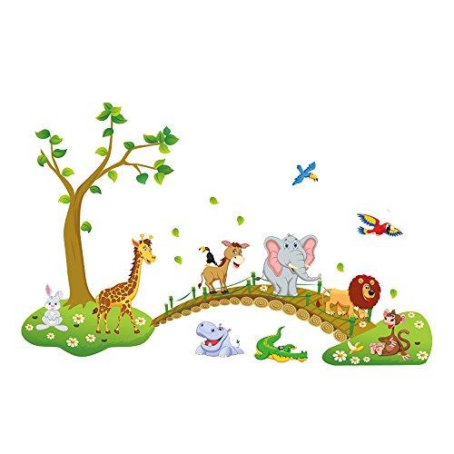 dschungel wandtattoo Pingxia Dschungel Wandtattoo Niedlich Tier Wandaufkleber Abnehmbare Wandsticker für Kinderzimmer Schlafzimmer Wohnzimmer