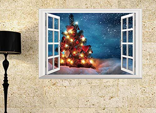 Wandsticker Wandtattoos 3D Wandaufkleber/Weihnachtsbaum/Gefälschte Fenster Simulation Dreidimensionale Schlafzimmer Wohnzimmer Dekorative Wandaufkleber Diy Umwelt Vinyl Abnehmbare 85 * 58 Cm