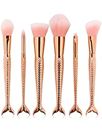 Yocitoy 6Pcs Makeup Brushes Set for Eye Makeup and Face Kabuki Foundation Kits Oro rosa