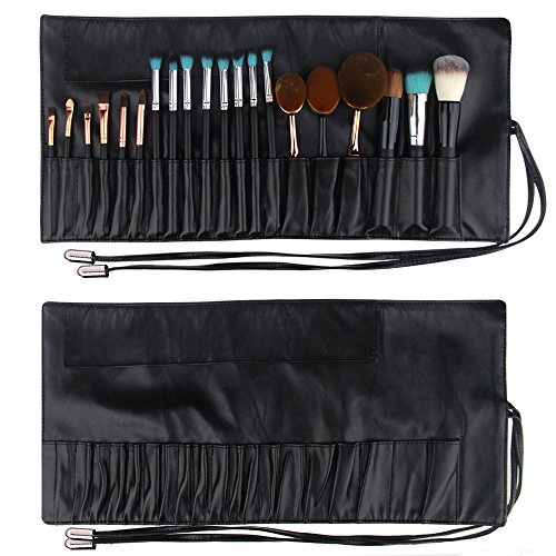 Travelmall Makeup brush rolling case pouch holder Cosmetic bag organizer Travel portable 18 pockets Cosmetics Brushes leather case (black)