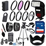 58mm 16 Piece Accessory Kit For Canon EOS 70D, 80D, 7D Mark II DSLRs With Replaceable LP-E6 Battery, Automatic LED Flash, 16GB SD Memory, HD Filters, Tripod, Auxiliary Lenses More