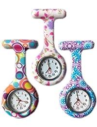 Boolavard® TM 3pcs Flores Reloj Silicona Supervisión de la Enfermera Doctor Paramédico Túnica Broche Fob Medical Watch, Paquete de 3