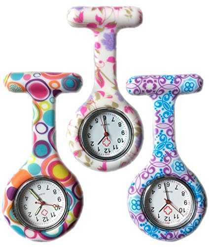 Boolavard-TM-3pcs-flowers-Silicone-Supervision-of-the-Nurse-Doctor-Paramedic-Tunic-Brooch-Fob-Medical-Watch-Pack-of-3