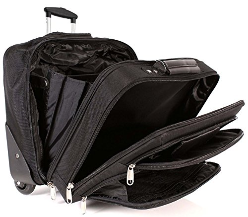 Lorenz Triple Gusset Executive fahrbare Business Trolley Laptop Roller Tasche - Cabin Size Travel Aktentasche Tasche -