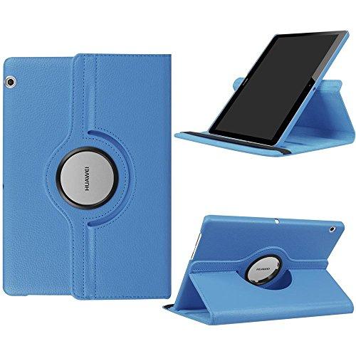 DETUOSI Fundas Huawei MediaPad T3 10 Funda de Cuero Giratoria 360 Grados Smart Case Cover Protectora Carcasa con Stand Función para Tablet Huawei T3 10 Pulgadas -Cielo Azul
