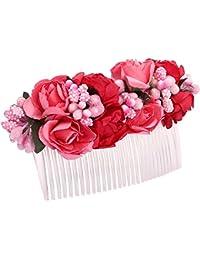 Sanjog Girl's Flower Comb Clip (Red, Free Size, VS101984)