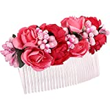 #6: Sanjog Girl's Flower Comb Clip (VS101984_Pink and Red_Free Size)