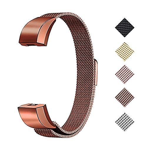WEKIN Armband für Fitbit Alta und Alta HR Metall Bänder, Mailänder Edelstahl, verstellbares Ersatz-Zubehör für Fitbit Alta und Alta HR Fitness-Armband, Coffee, Large