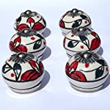 6 x White round with red flowers & dark green leaves (chrome fittings) ceramic cupboard door knob drawer pull shabby chic handle porcelain