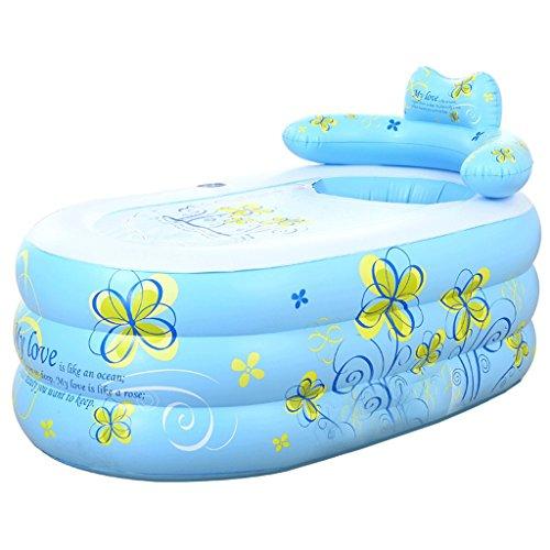 Épaissir la baignoire gonflable Baignoire pliante de baignoire Baignoire baignoire baril Épaissie isolation économiseuse d'eau petite double gonflable gonflable (Couleur : Bleu)