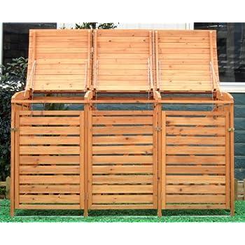 Mülltonnenbox für 3 Mülltonnen aus Nadelholz