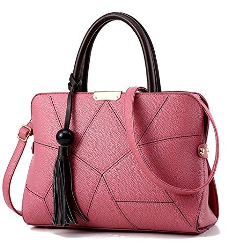 Xinmaoyuan Borse donna Lychee borsette Pu Borsa da donna grande pacchetto di Capacità sacchetto con striping Rosa