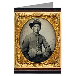 Six cartes confederate récolte des jeunes soldats en uniforme et chapeau de cowboy revolver et de l'artillerie hardee sabre de la guerre civile