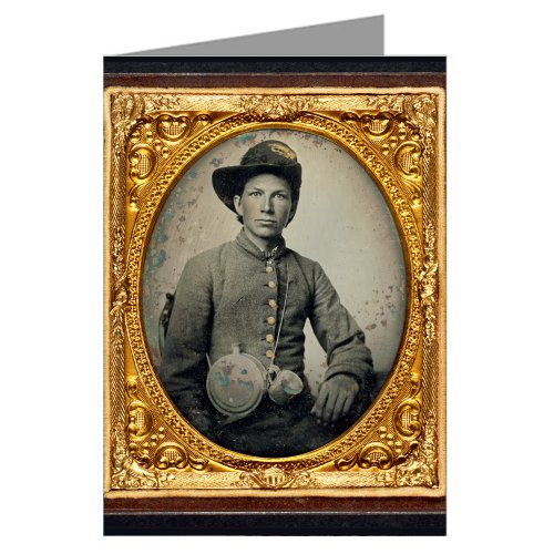 6-vintage-greeting-cards-of-young-confederate-soldier-in-shell-jacket-hardee-hat-with-mounted-rifles