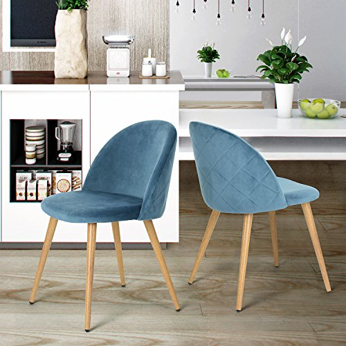 Esszimmerstuhl Coavas samt weich Kissen Sitz und Rücken mit hölzernen Metallbeine Küche Stühle für Ess - und wohnzimmer Stühle Set von 2,Blau (Küche Stühle-set Von Zwei)