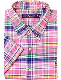 Polo Ralph Lauren - Homme - Short-Sleeve Check Plaid Oxford Shirt Chemise Casual - Manche Courte