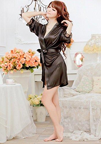 Molly Femmes Robe Libertine Pyjamas Satiné Kimono Robe Noir