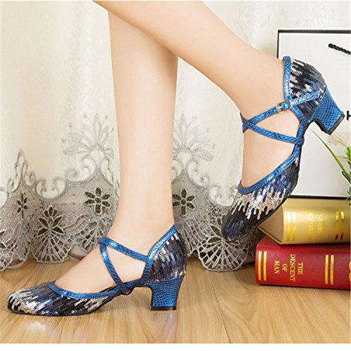 YFF Regalo donne danza scarpe ballo latino ballo tango danza scarpe 6cm Blue