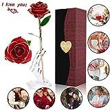 Rose, U-kiss 24k Goldfolie in Geschenkbox für Liebhaber Mutter Freundin, zum Valentinstag ,Jahrestag, Geburtstagsgeschenk, Weihnachten (Rot)