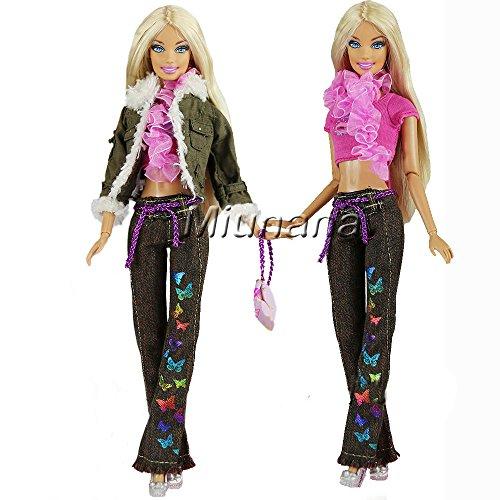 f5e0075ee Miunana 1 Ropa Vestir Casual Camiseta Abrigo Pantalones Bolso Bufanda  Outfit para Muñeca Barbie Doll Regalo